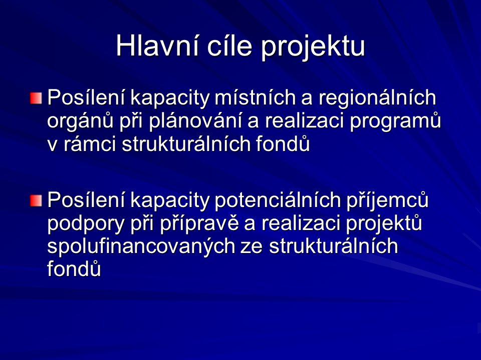 Hlavní cíle projektu Posílení kapacity místních a regionálních orgánů při plánování a realizaci programů v rámci strukturálních fondů Posílení kapacity potenciálních příjemců podpory při přípravě a realizaci projektů spolufinancovaných ze strukturálních fondů