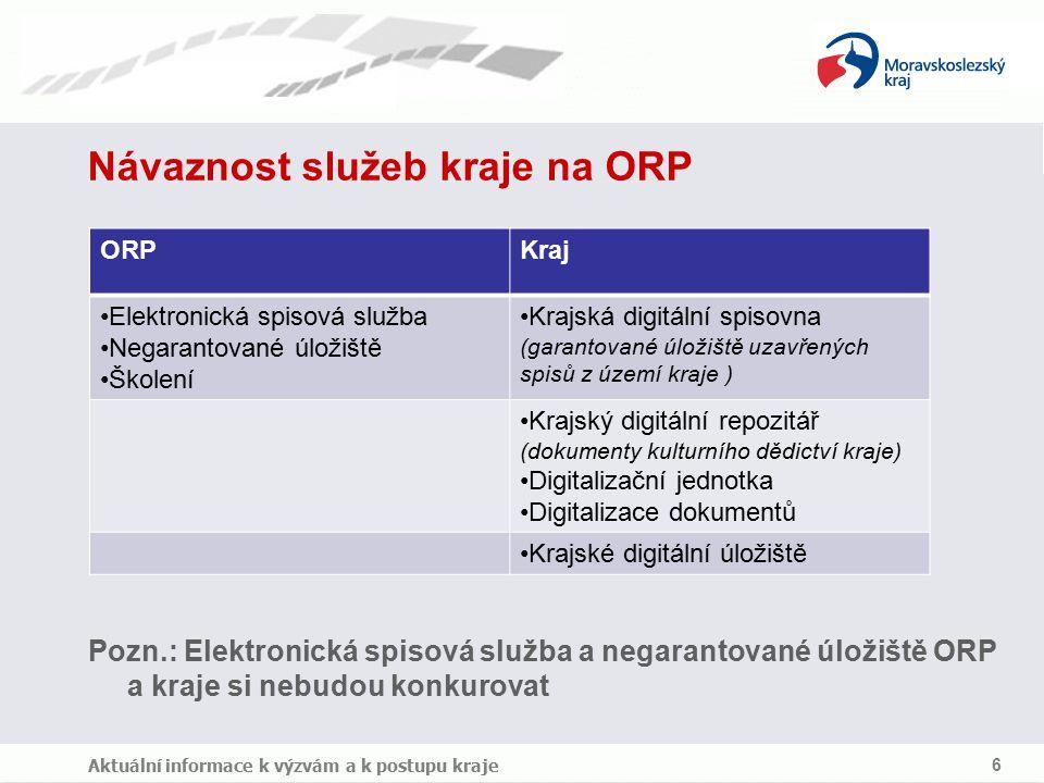 Elektronická spisová služba (eSpS) v území ORP Může být pořízena obcím a zřizovaným organizacím (školy mají vést povinně eSpS) Úhrada provozních nákladů může být zajištěna smlouvou mezi ORP a obcí Provozovat lze v hostovaném režimu (na TC ORP) Provozovat lze i na technologii obce a to v případech - obec nemá dostatečné připojení do internetu, - provozní náklady na hostované řešení jsou pro obec vysoké Obce a zřizované organizace lze školit (dle výzvy č.40) Aktuální informace k výzvám a k postupu kraje 7