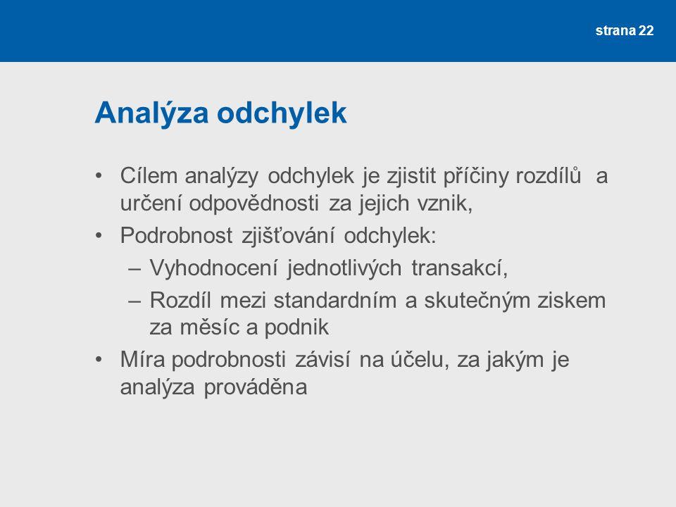 Analýza odchylek Cílem analýzy odchylek je zjistit příčiny rozdílů a určení odpovědnosti za jejich vznik, Podrobnost zjišťování odchylek: –Vyhodnocení