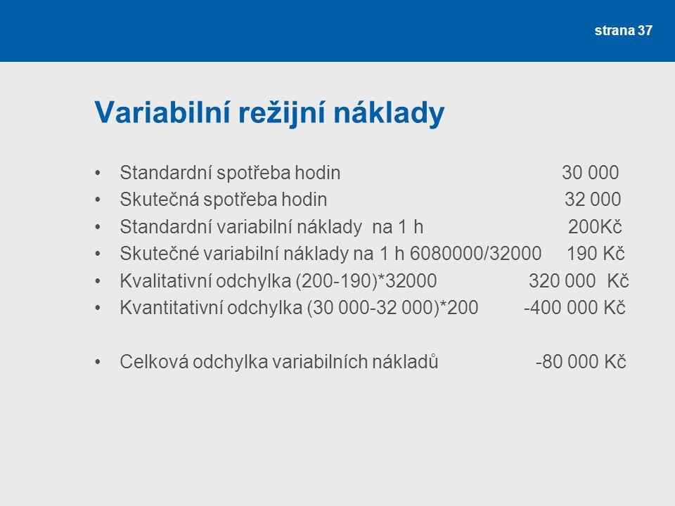 Variabilní režijní náklady Standardní spotřeba hodin 30 000 Skutečná spotřeba hodin 32 000 Standardní variabilní náklady na 1 h 200Kč Skutečné variabi