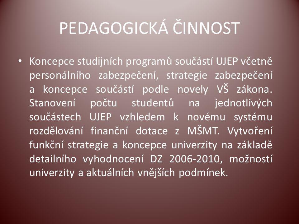PEDAGOGICKÁ ČINNOST Koncepce studijních programů součástí UJEP včetně personálního zabezpečení, strategie zabezpečení a koncepce součástí podle novely