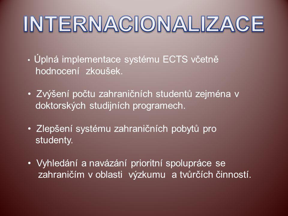 Úplná implementace systému ECTS včetně hodnocení zkoušek. Zvýšení počtu zahraničních studentů zejména v doktorských studijních programech. Zlepšení sy