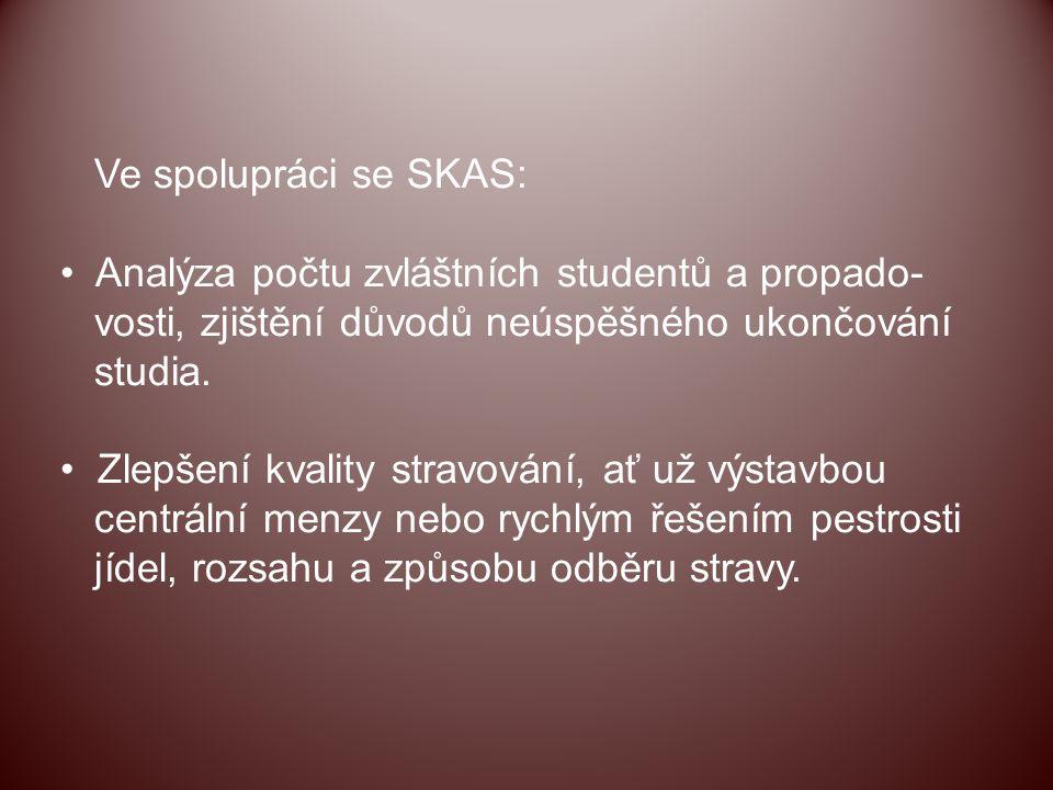 Ve spolupráci se SKAS: Analýza počtu zvláštních studentů a propado- vosti, zjištění důvodů neúspěšného ukončování studia. Zlepšení kvality stravování,