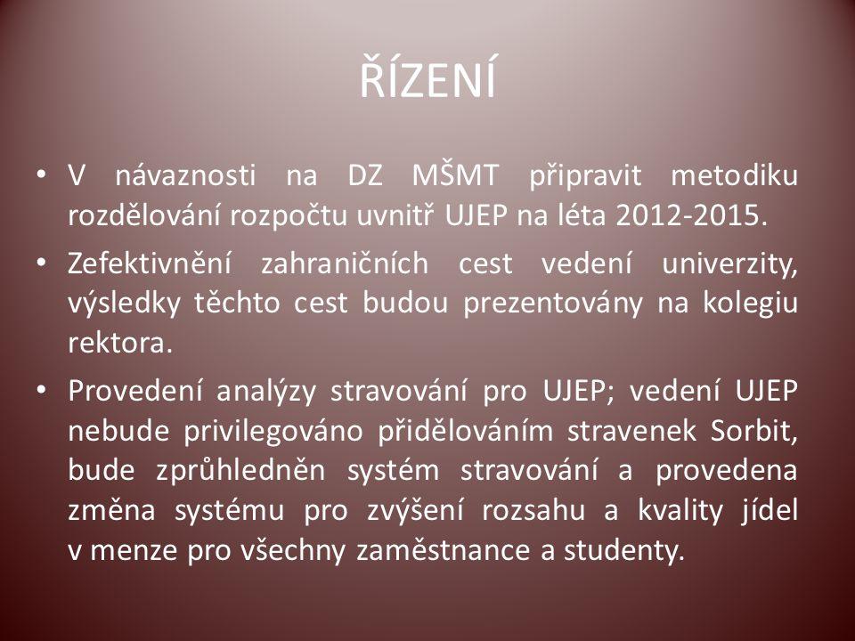 ŘÍZENÍ V návaznosti na DZ MŠMT připravit metodiku rozdělování rozpočtu uvnitř UJEP na léta 2012-2015. Zefektivnění zahraničních cest vedení univerzity