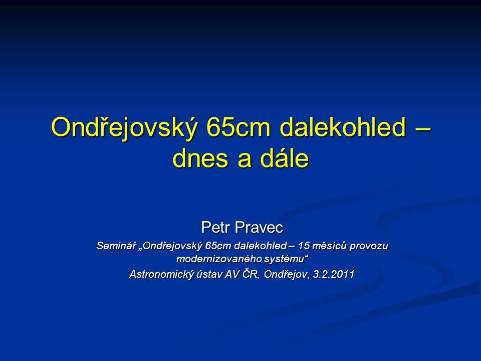 """Ondřejovský 65cm dalekohled – dnes a dále Petr Pravec Seminář """"Ondřejovský 65cm dalekohled – 15 měsíců provozu modernizovaného systému"""" Astronomický ú"""