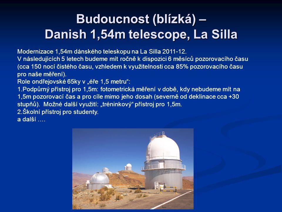 Budoucnost (blízká) – Danish 1,54m telescope, La Silla Modernizace 1,54m dánského teleskopu na La Silla 2011-12. V následujících 5 letech budeme mít r
