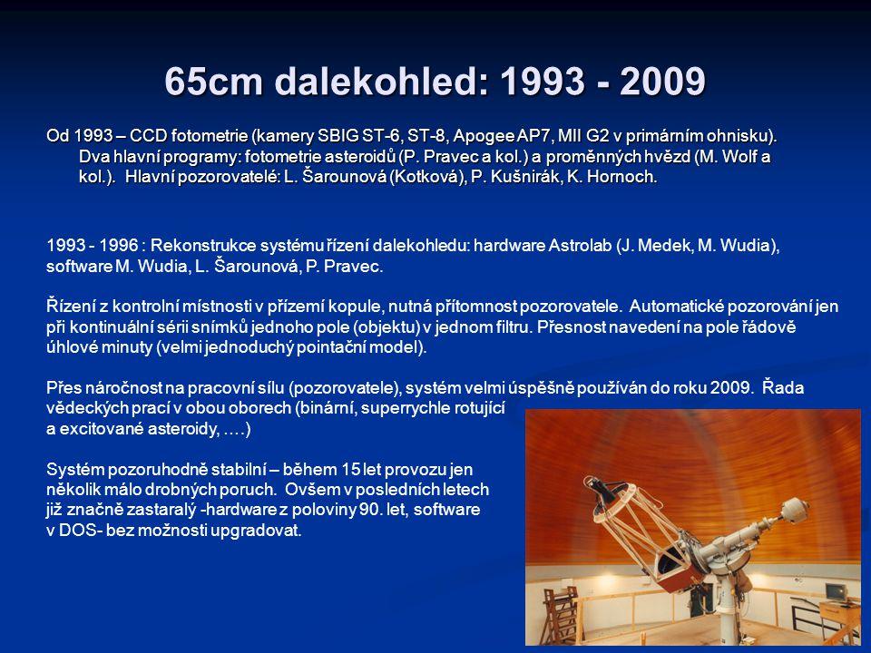 65cm dalekohled: 1993 - 2009 Od 1993 – CCD fotometrie (kamery SBIG ST-6, ST-8, Apogee AP7, MII G2 v primárním ohnisku). Dva hlavní programy: fotometri