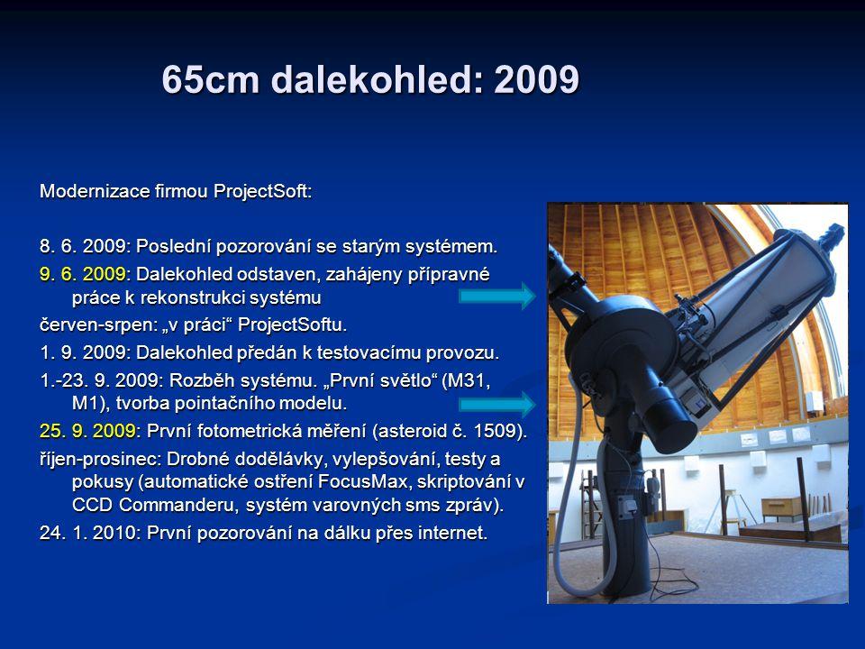 65cm dalekohled: 2009 Modernizace firmou ProjectSoft: 8. 6. 2009: Poslední pozorování se starým systémem. 9. 6. 2009: Dalekohled odstaven, zahájeny př