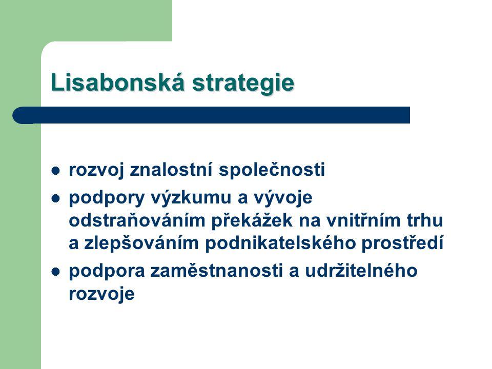 Lisabonská strategie rozvoj znalostní společnosti podpory výzkumu a vývoje odstraňováním překážek na vnitřním trhu a zlepšováním podnikatelského prostředí podpora zaměstnanosti a udržitelného rozvoje