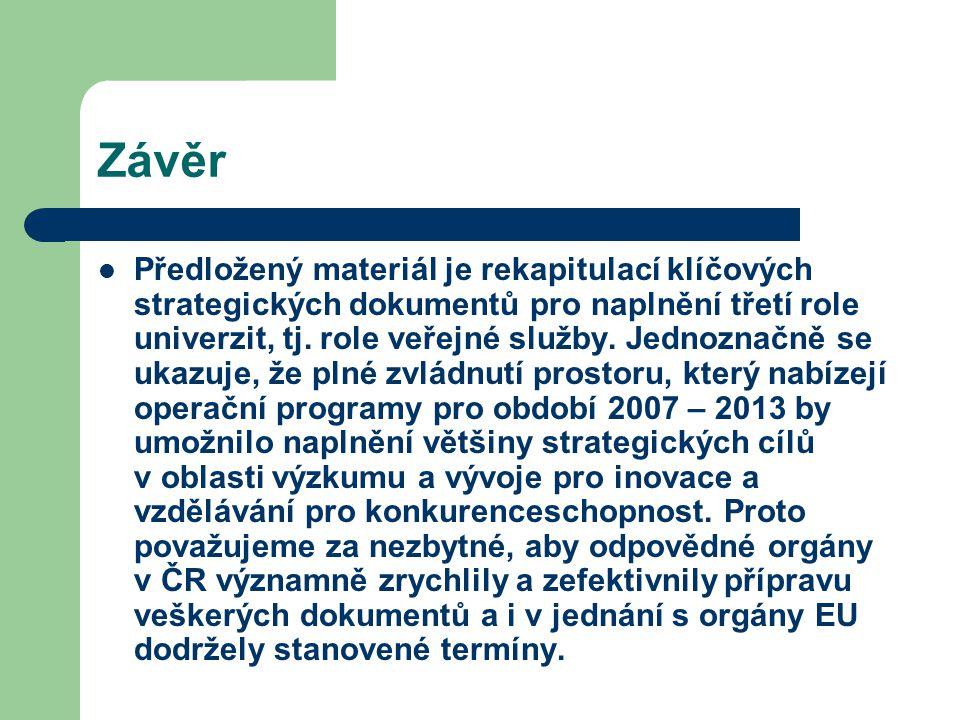 Závěr Předložený materiál je rekapitulací klíčových strategických dokumentů pro naplnění třetí role univerzit, tj.