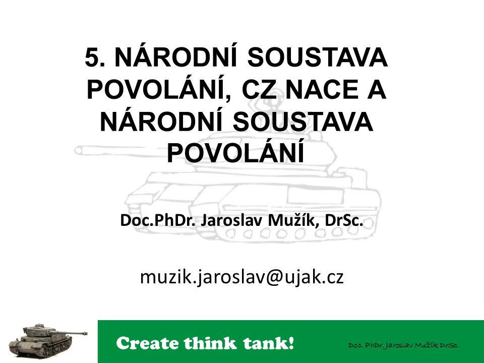 Create think tank! Doc. PhDr. Jaroslav Mužík DrSc. 5. NÁRODNÍ SOUSTAVA POVOLÁNÍ, CZ NACE A NÁRODNÍ SOUSTAVA POVOLÁNÍ Doc.PhDr. Jaroslav Mužík, DrSc. m