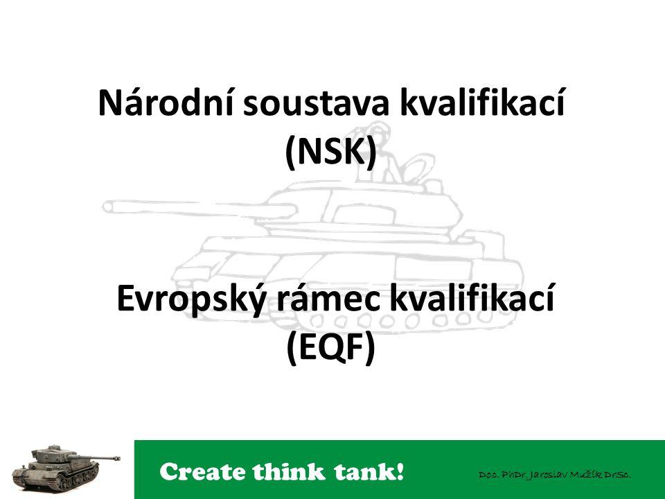 Create think tank! Doc. PhDr. Jaroslav Mužík DrSc. Národní soustava kvalifikací (NSK) Evropský rámec kvalifikací (EQF)