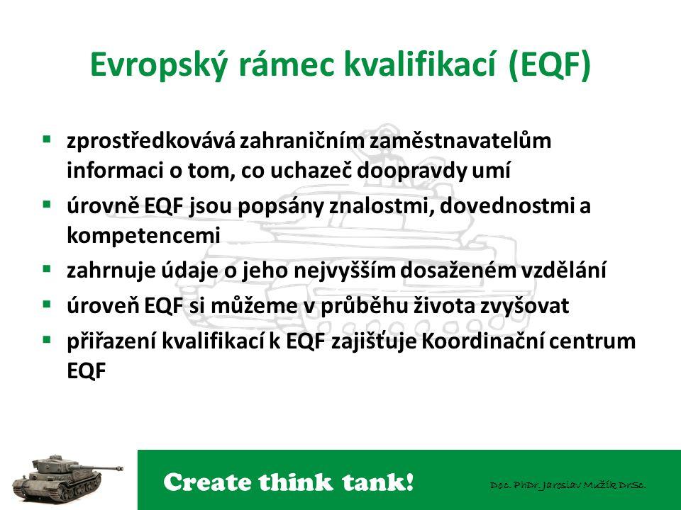 Create think tank! Doc. PhDr. Jaroslav Mužík DrSc. Evropský rámec kvalifikací (EQF)  zprostředkovává zahraničním zaměstnavatelům informaci o tom, co