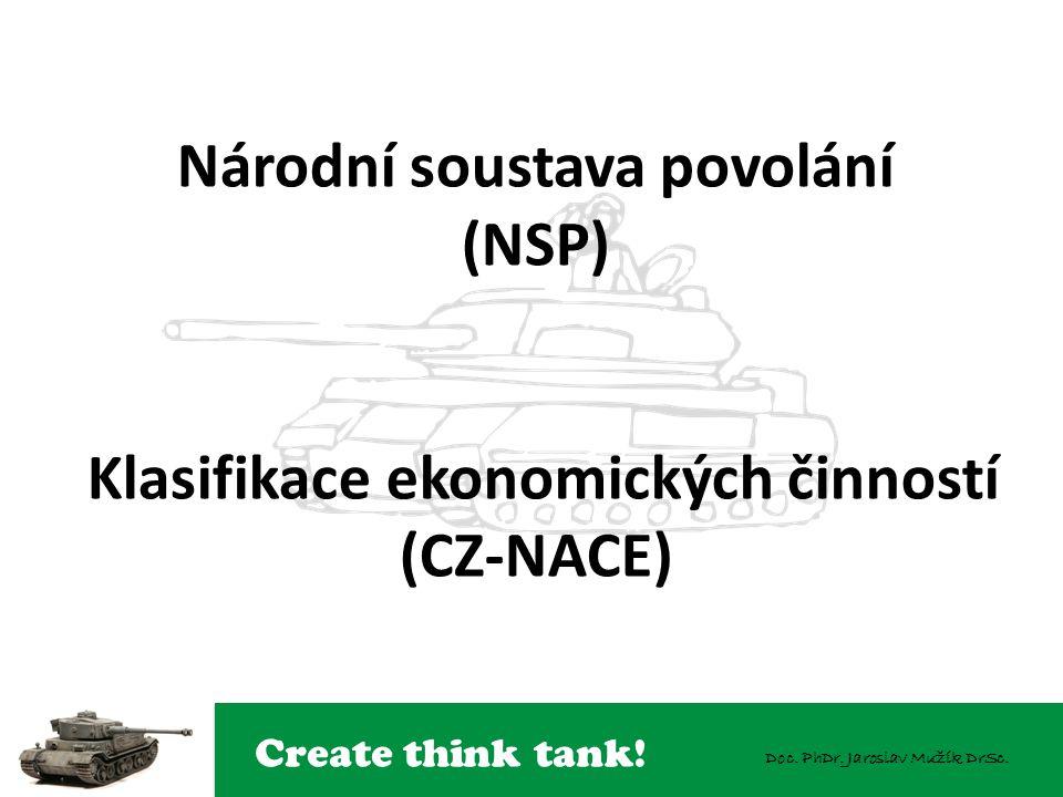 Create think tank! Doc. PhDr. Jaroslav Mužík DrSc. Národní soustava povolání (NSP) Klasifikace ekonomických činností (CZ-NACE)