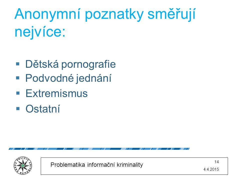 4.4.2015 14 Problematika informační kriminality Anonymní poznatky směřují nejvíce:  Dětská pornografie  Podvodné jednání  Extremismus  Ostatní