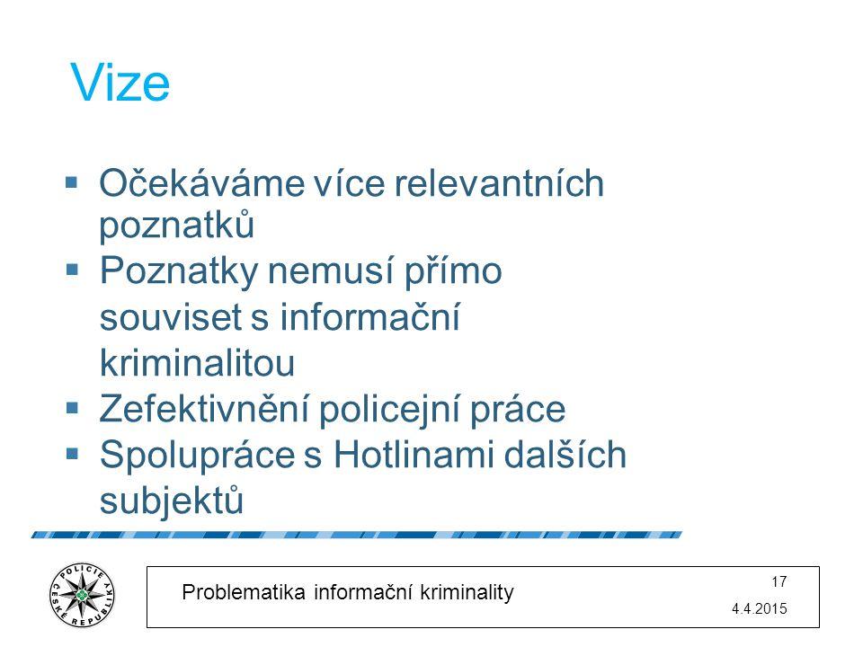 4.4.2015 17 Problematika informační kriminality Vize  Očekáváme více relevantních poznatků  Poznatky nemusí přímo souviset s informační kriminalitou