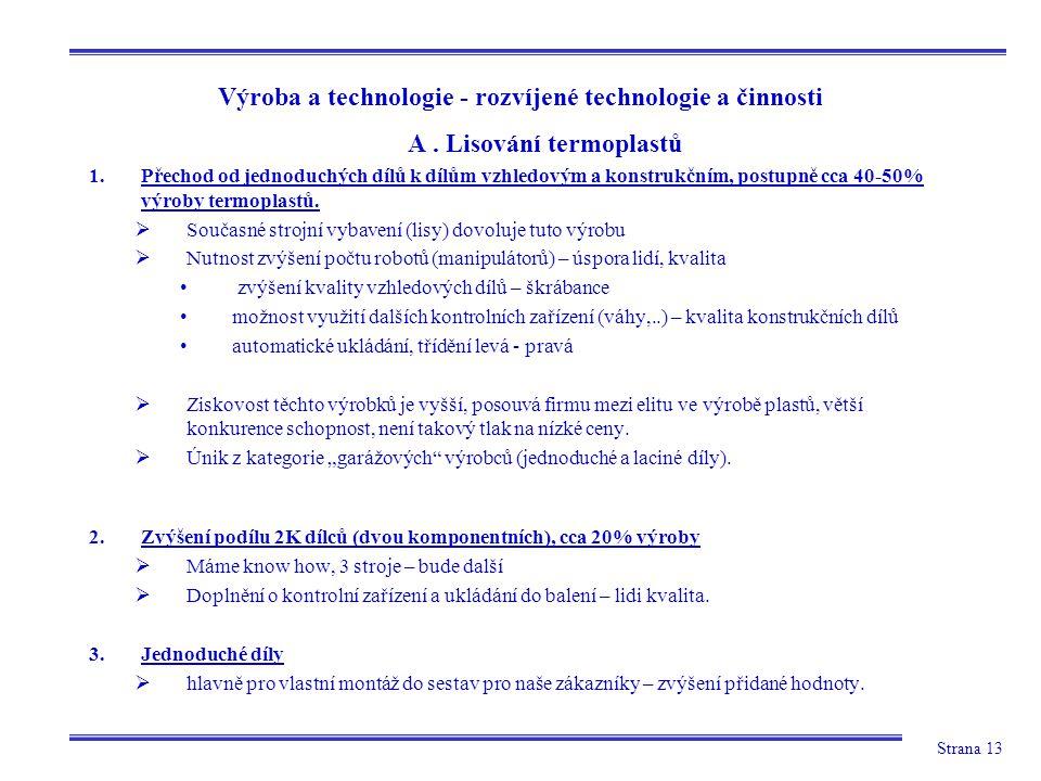 Strana 13 Výroba a technologie - rozvíjené technologie a činnosti A.