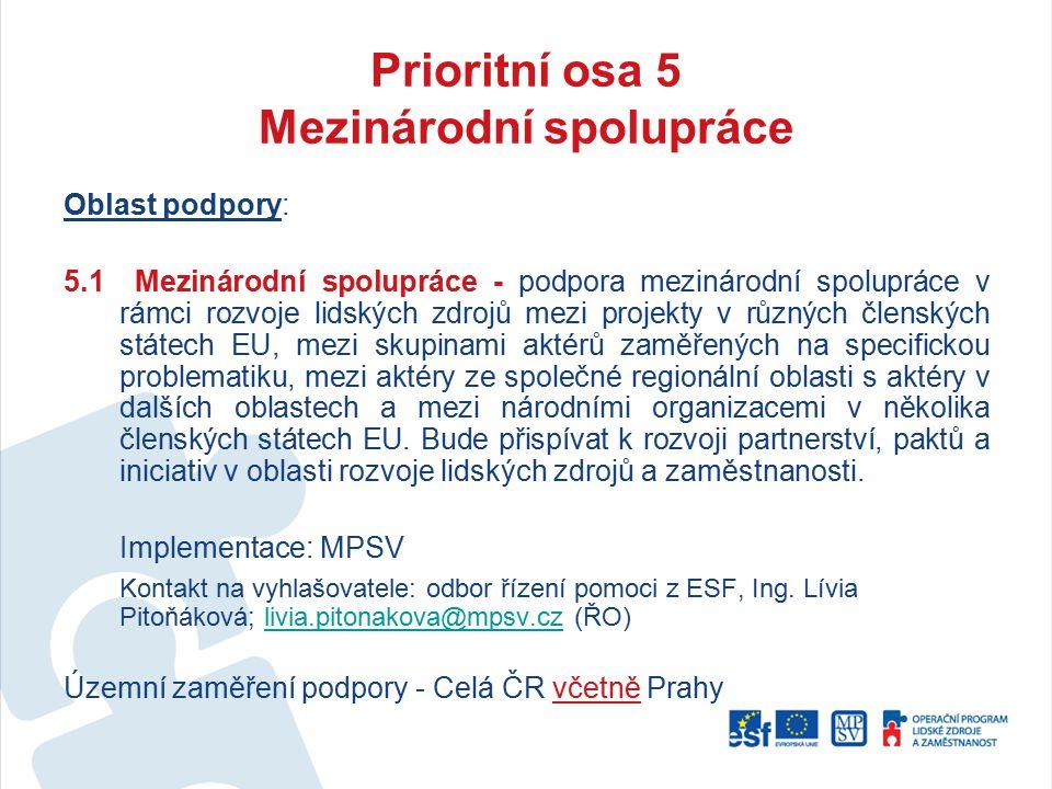 Prioritní osa 5 Mezinárodní spolupráce Oblast podpory: 5.1 Mezinárodní spolupráce - podpora mezinárodní spolupráce v rámci rozvoje lidských zdrojů mez