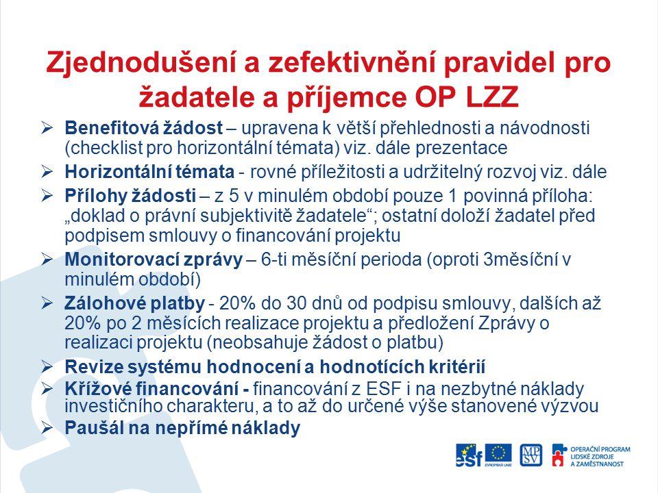 Zjednodušení a zefektivnění pravidel pro žadatele a příjemce OP LZZ  Benefitová žádost – upravena k větší přehlednosti a návodnosti (checklist pro ho
