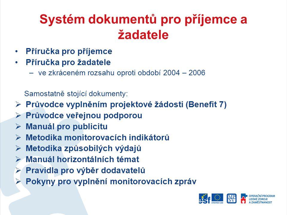 Systém dokumentů pro příjemce a žadatele Příručka pro příjemce Příručka pro žadatele –ve zkráceném rozsahu oproti období 2004 – 2006 Samostatně stojíc