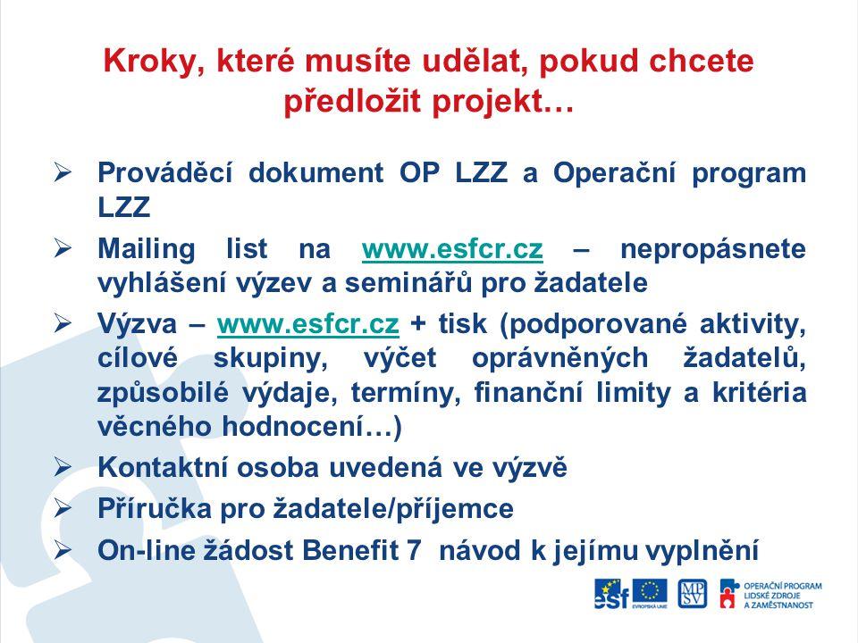 Kroky, které musíte udělat, pokud chcete předložit projekt…  Prováděcí dokument OP LZZ a Operační program LZZ  Mailing list na www.esfcr.cz – neprop