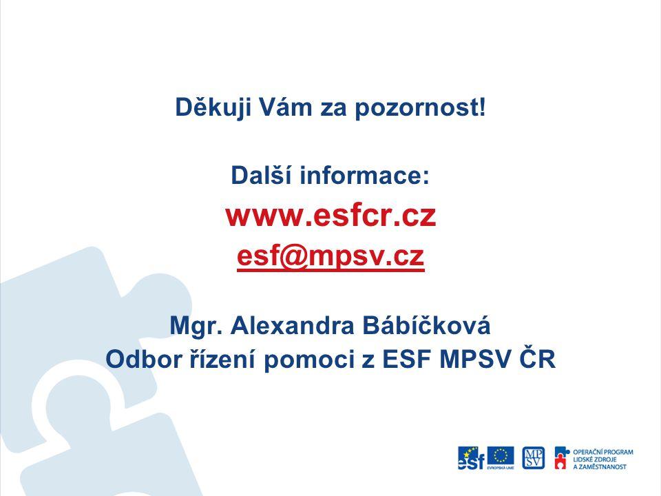 Děkuji Vám za pozornost! Další informace: www.esfcr.cz esf@mpsv.cz Mgr. Alexandra Bábíčková Odbor řízení pomoci z ESF MPSV ČR