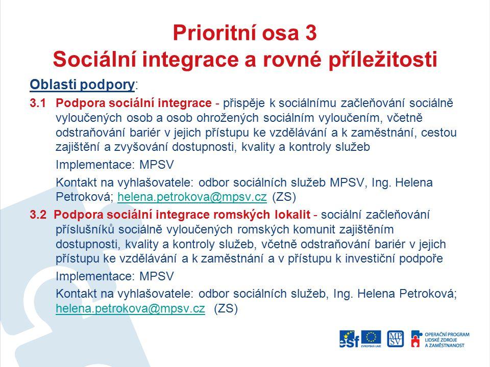 Prioritní osa 3 Sociální integrace a rovné příležitosti Oblasti podpory: 3.1Podpora sociální integrace - přispěje k sociálnímu začleňování sociálně vy
