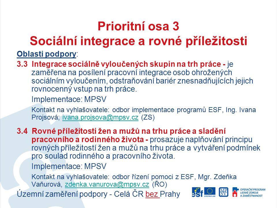 Prioritní osa 3 Sociální integrace a rovné příležitosti Oblasti podpory: 3.3 Integrace sociálně vyloučených skupin na trh práce - je zaměřena na posíl