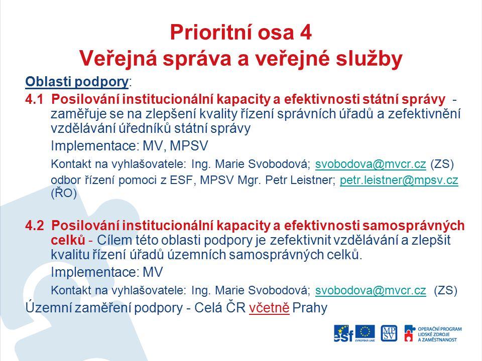 Prioritní osa 4 Veřejná správa a veřejné služby Oblasti podpory: 4.1 Posilování institucionální kapacity a efektivnosti státní správy - zaměřuje se na