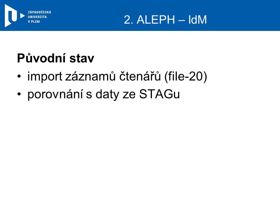 Původní stav import záznamů čtenářů (file-20) porovnání s daty ze STAGu