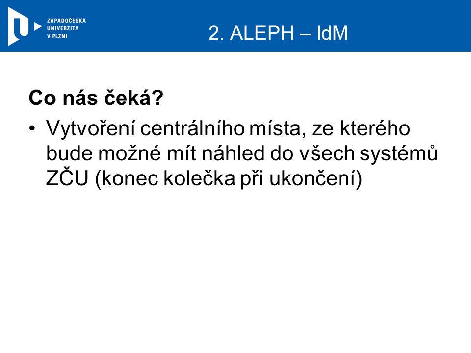 2. ALEPH – IdM Co nás čeká.