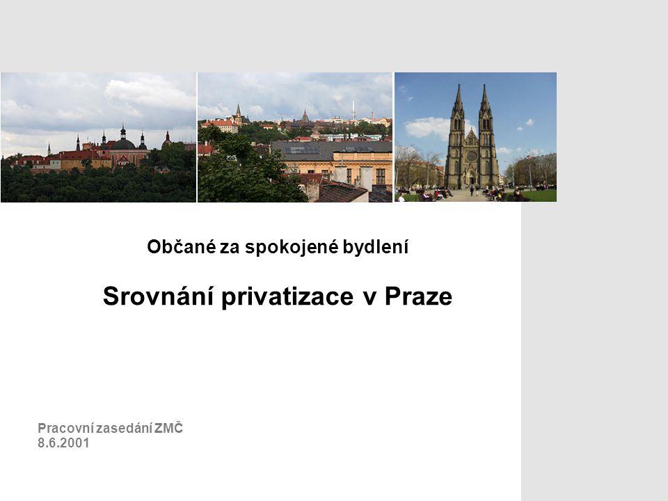 Občané za spokojené bydlení Srovnání privatizace v Praze Pracovní zasedání ZMČ 8.6.2001