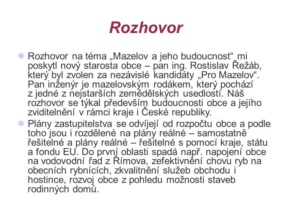"""Rozhovor Rozhovor na téma """"Mazelov a jeho budoucnost mi poskytl nový starosta obce – pan ing."""