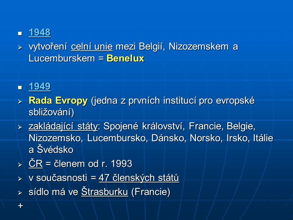 1948 1948  vytvoření celní unie mezi Belgií, Nizozemskem a Lucemburskem = Benelux 1949 1949  Rada Evropy (jedna z prvních institucí pro evropské sbl