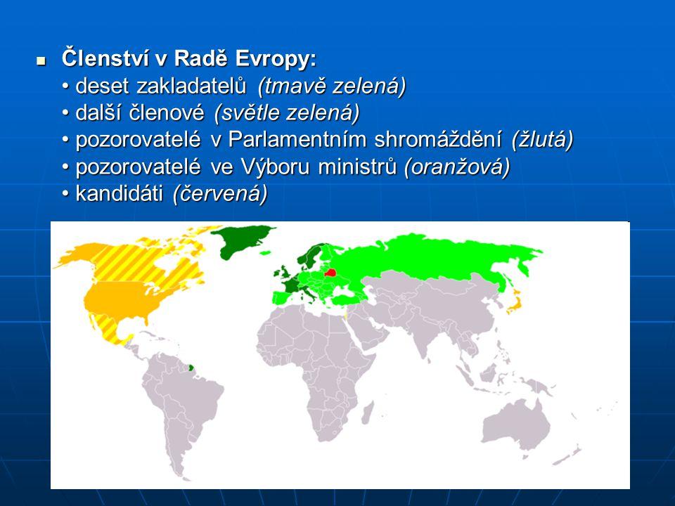 Členství v Radě Evropy: deset zakladatelů (tmavě zelená) další členové (světle zelená) pozorovatelé v Parlamentním shromáždění (žlutá) pozorovatelé ve