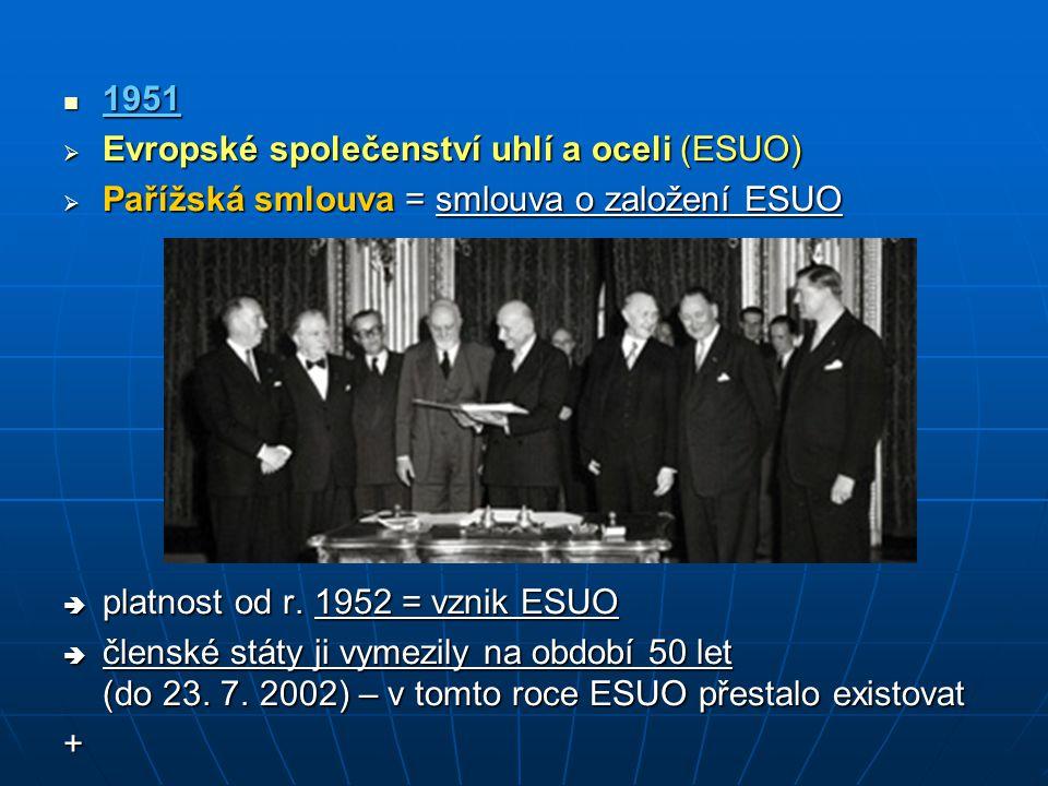 1951 1951  Evropské společenství uhlí a oceli (ESUO)  Pařížská smlouva = smlouva o založení ESUO  platnost od r. 1952 = vznik ESUO  členské státy