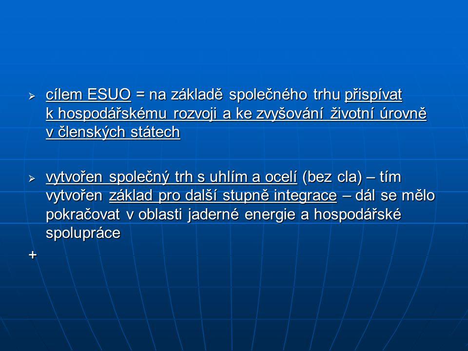 cílem ESUO = na základě společného trhu přispívat k hospodářskému rozvoji a ke zvyšování životní úrovně v členských státech  vytvořen společný trh