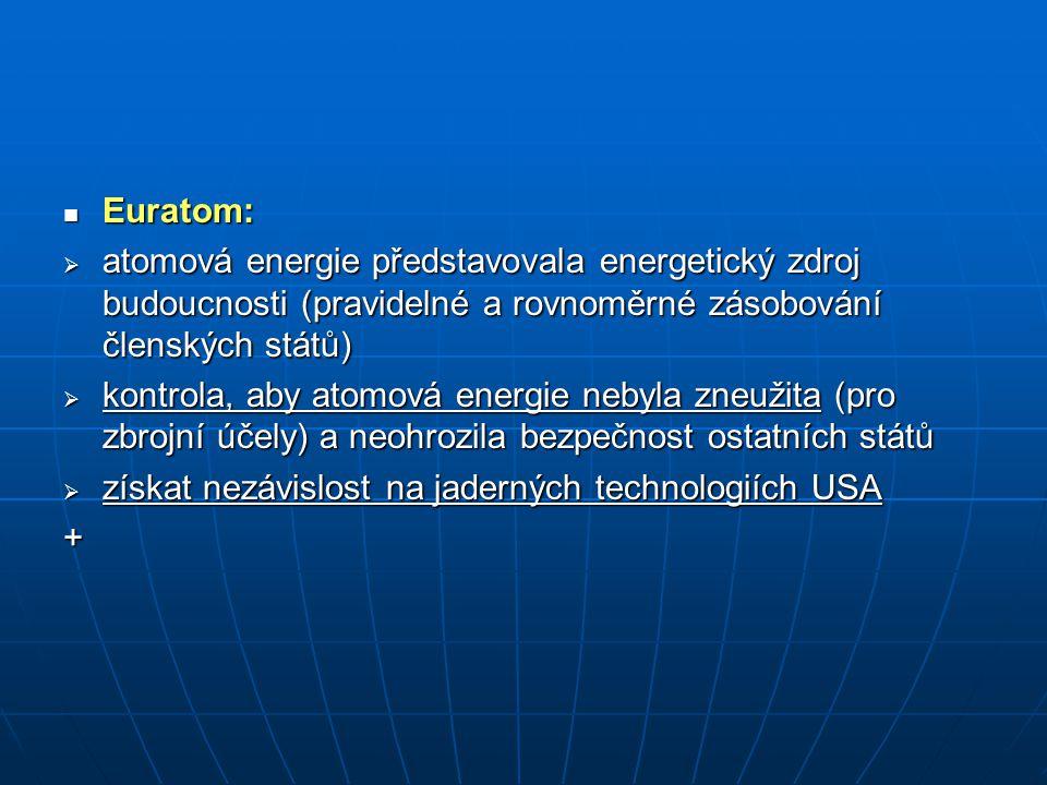 Euratom: Euratom:  atomová energie představovala energetický zdroj budoucnosti (pravidelné a rovnoměrné zásobování členských států)  kontrola, aby a