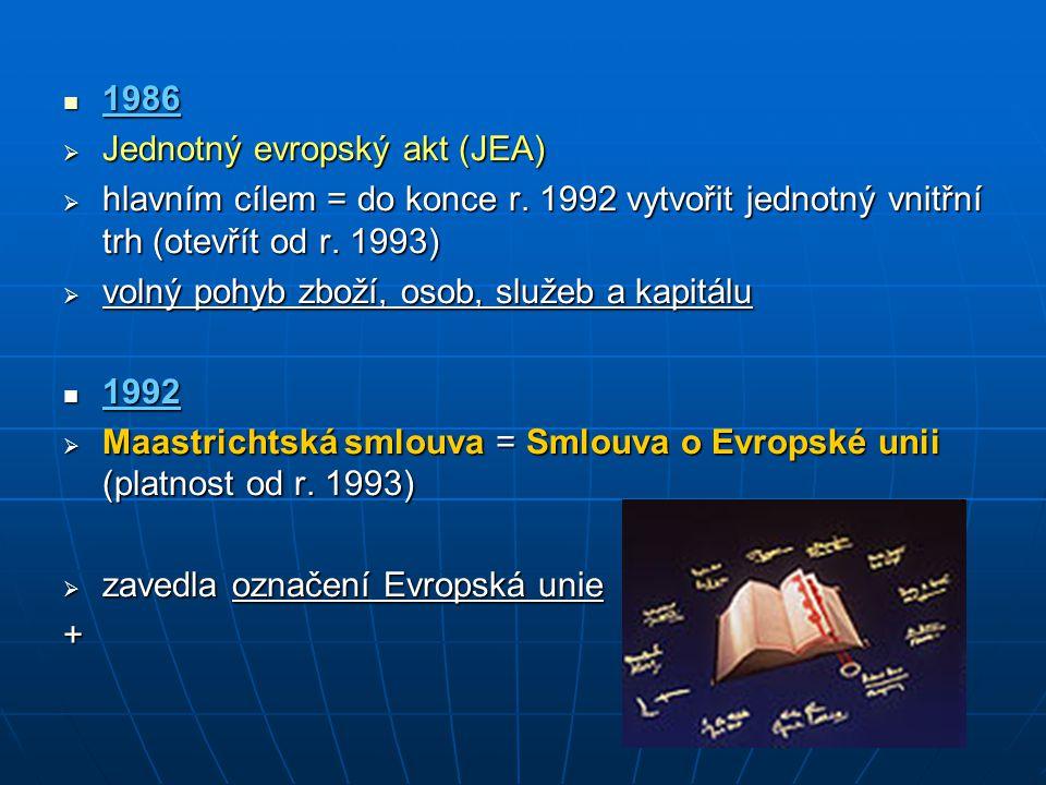 1986 1986  Jednotný evropský akt (JEA)  hlavním cílem = do konce r. 1992 vytvořit jednotný vnitřní trh (otevřít od r. 1993)  volný pohyb zboží, oso