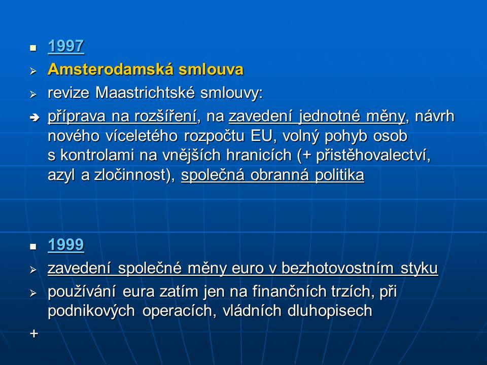 1997 1997  Amsterodamská smlouva  revize Maastrichtské smlouvy:  příprava na rozšíření, na zavedení jednotné měny, návrh nového víceletého rozpočtu