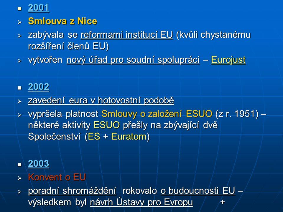 2001 2001  Smlouva z Nice  zabývala se reformami institucí EU (kvůli chystanému rozšíření členů EU)  vytvořen nový úřad pro soudní spolupráci – Eur