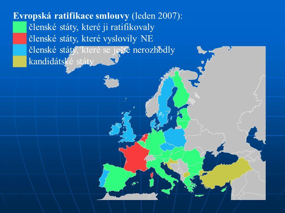 Evropská ratifikace smlouvy (leden 2007): ██ členské státy, které ji ratifikovaly ██ členské státy, které vyslovily NE ██ členské státy, které se ješt
