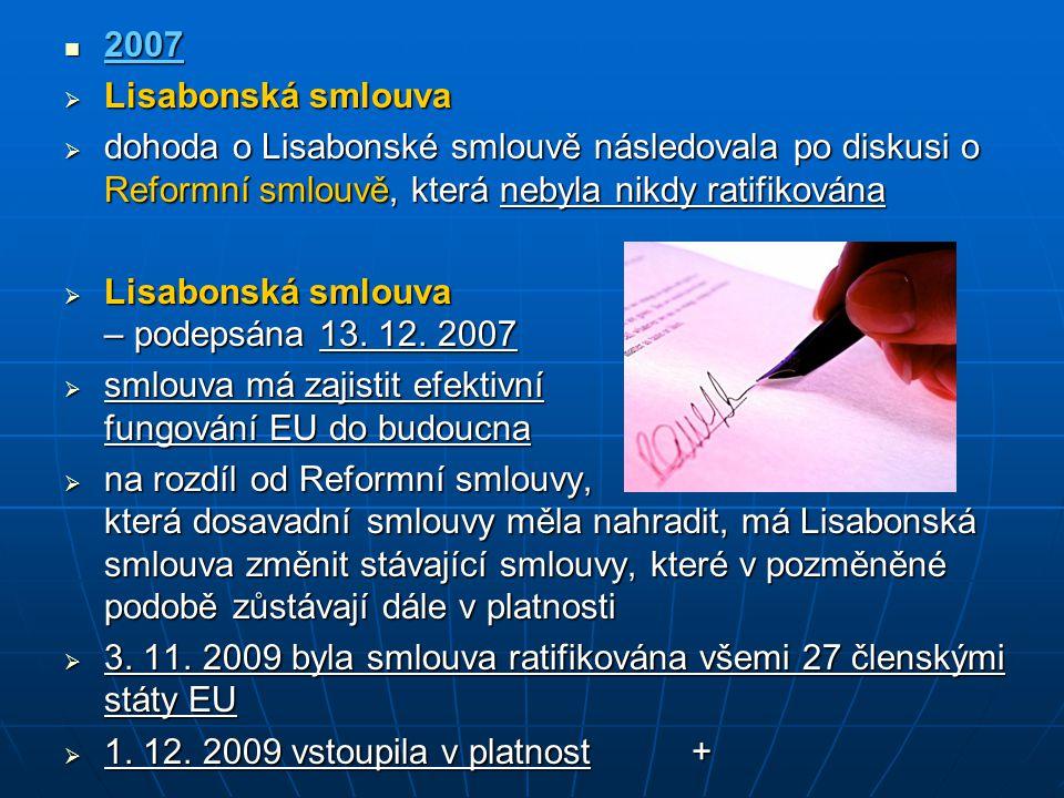 2007 2007  Lisabonská smlouva  dohoda o Lisabonské smlouvě následovala po diskusi o Reformní smlouvě, která nebyla nikdy ratifikována  Lisabonská s