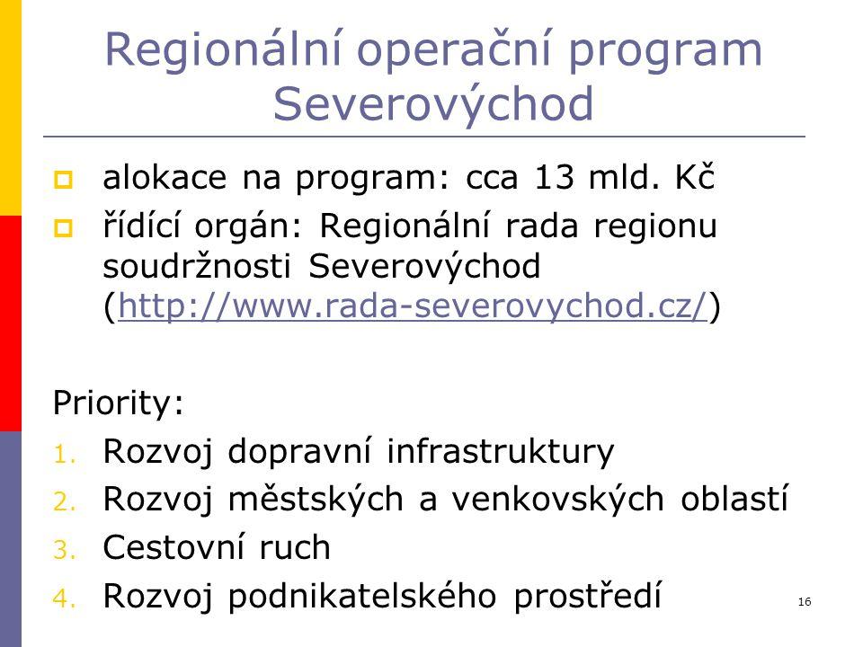 16 Regionální operační program Severovýchod  alokace na program: cca 13 mld. Kč  řídící orgán: Regionální rada regionu soudržnosti Severovýchod (htt
