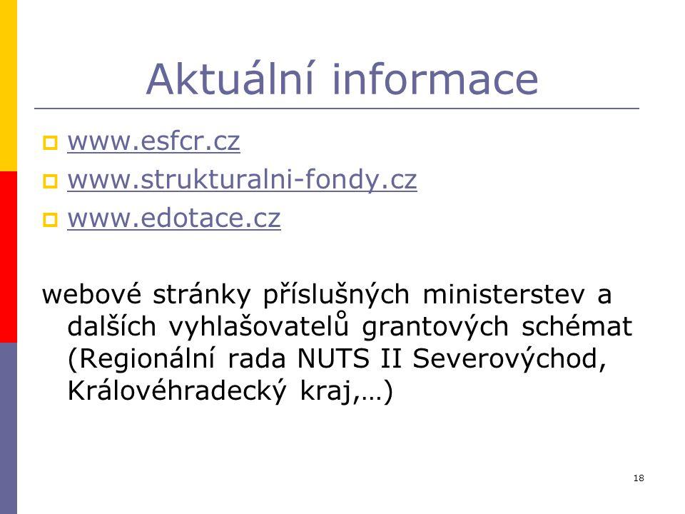 18 Aktuální informace  www.esfcr.cz www.esfcr.cz  www.strukturalni-fondy.cz www.strukturalni-fondy.cz  www.edotace.cz www.edotace.cz webové stránky