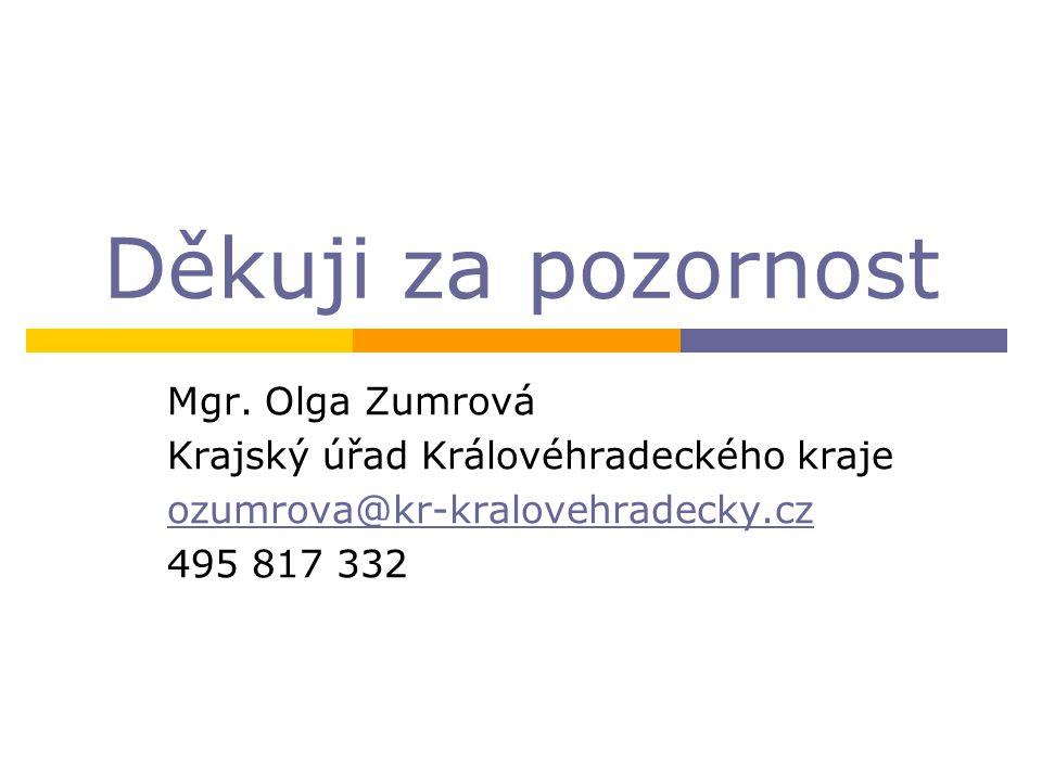 Děkuji za pozornost Mgr. Olga Zumrová Krajský úřad Královéhradeckého kraje ozumrova@kr-kralovehradecky.cz 495 817 332