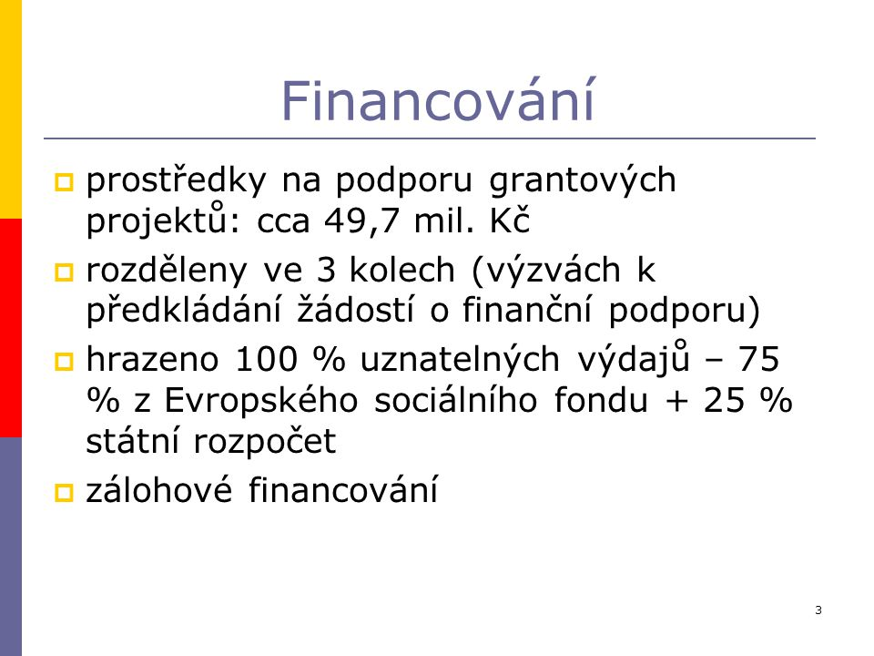 3 Financování  prostředky na podporu grantových projektů: cca 49,7 mil. Kč  rozděleny ve 3 kolech (výzvách k předkládání žádostí o finanční podporu)