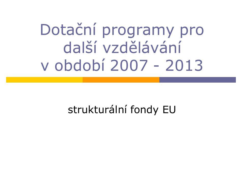 Dotační programy pro další vzdělávání v období 2007 - 2013 strukturální fondy EU