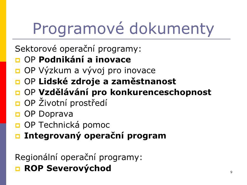 9 Programové dokumenty Sektorové operační programy:  OP Podnikání a inovace  OP Výzkum a vývoj pro inovace  OP Lidské zdroje a zaměstnanost  OP Vz