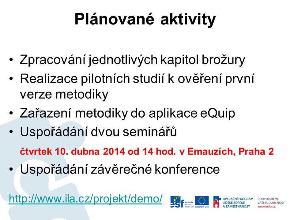 Plánované aktivity Zpracování jednotlivých kapitol brožury Realizace pilotních studií k ověření první verze metodiky Zařazení metodiky do aplikace eQuip Uspořádání dvou seminářů čtvrtek 10.